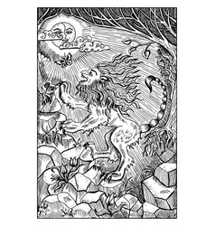 manticore engraved fantasy vector image