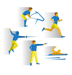 modern pentathlon - fencing shooting equestrian vector image