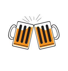pair of beer mugs vector image