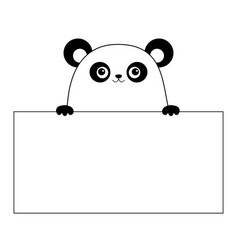 Panda bear face head silhouette hanging on paper vector