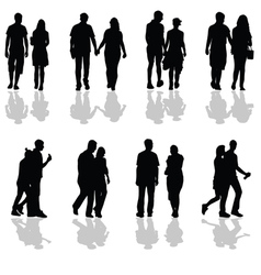 People walking in pairs silhouette vector