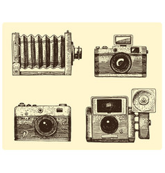Photo camera set vintage engraved hand drawn in vector