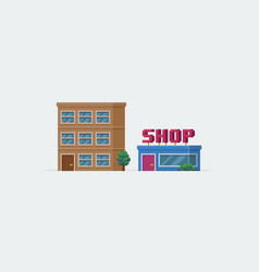 Pixel art buildings vector