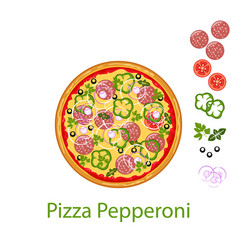 pizza pepperoni flat icon isolated on white vector image