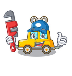 Plumber clockwork toy car isolated on mascot vector