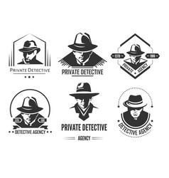 private detective promotional monochrome emblems vector image