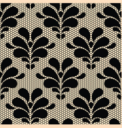 Seamless black lace pattern on beige background vector image