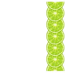 Seamless decorative border of lime slice vector