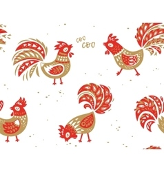 Seamless pattern rooster background vector