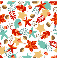 seamless pattern with autumn leaves and berries vector image