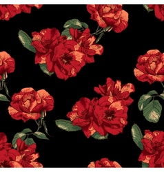 seamless pattern with vintage roses vector image