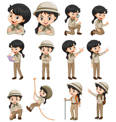 Set happy girl in safari outfit doing vector