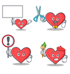 set of heart character with bring board sign vector image