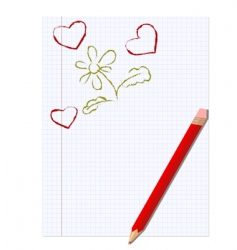sheet of notebook and pencil vector image