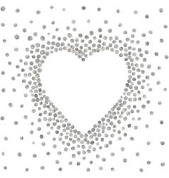 Silver frame in shape heart vector