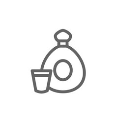 simple cognac bottle line icon symbol and sign vector image