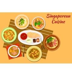 Singaporean cuisine popular dinner dishes icon vector image