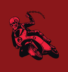 skull of bandit riding motorcycle vector image
