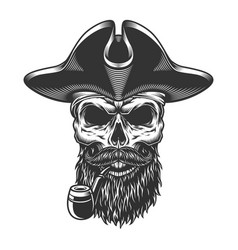 skull with pipe vector image