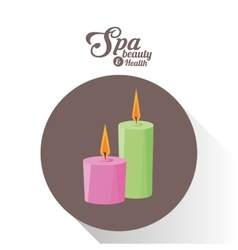 Spa beauty and health aroma candles brown vector