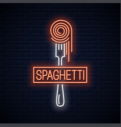 Spaghetti on fork neon sign italian pasta neon vector
