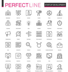 Start-up and development thin line web icons set vector