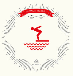 Swimmer on a springboard jumping into the water - vector