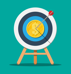 target with arrow and gold coin vector image