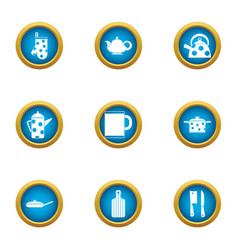 Tea cupping icons set flat style vector