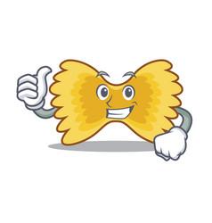 Thumbs up farfalle pasta character cartoon vector