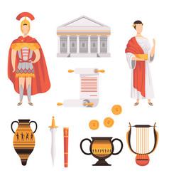 traditional symbols ancient roman empire set vector image