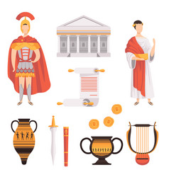 Traditional symbols of ancient roman empire set vector
