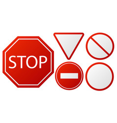 Traffic signs stop restricted road warning sign vector