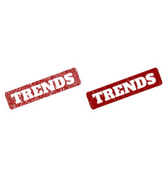 Trends red rounded rough rectangle stamp seal vector
