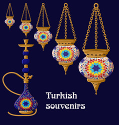 turkish traditional ceramic souvenirs vector image