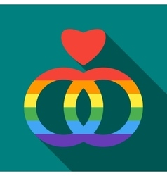 Two rainbow rings and heart icon flat style vector image