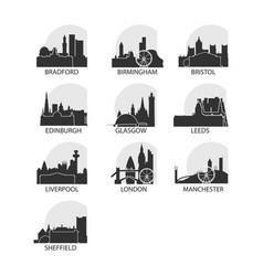 Uk cities icons set skyline logo pack vector