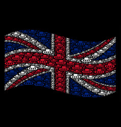 waving british flag pattern of military tank items vector image