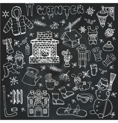 Winteer doodle iconselements setLinear vector
