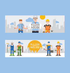 workmen builders and engineers with tools or tiles vector image