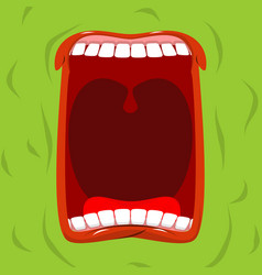 green monster with his mouth open scary ghost vector image vector image
