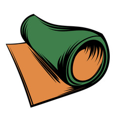 Rolled mat icon cartoon vector