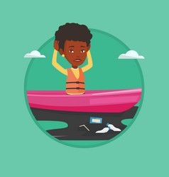 woman floating in a boat in polluted water vector image