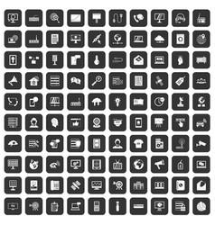 100 telecommunication icons set black vector