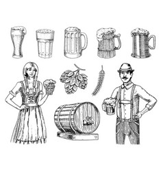 a woman and man in traditional belgian or bavarian vector image