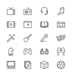 Entertainment thin icons vector
