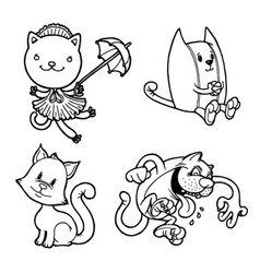 funny kitties and cats in various poses vector image