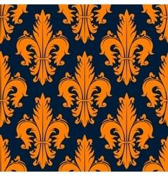 Orange decorative fleur-de-lis seamless pattern vector