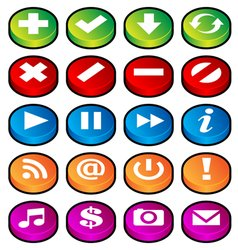 puck button icons vector image vector image