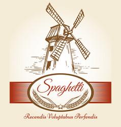 spaghetti pasta bakery label vector image vector image